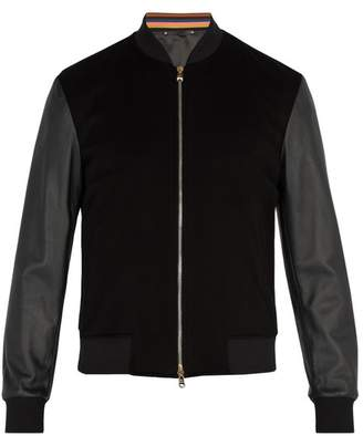 Paul Smith Leather Sleeved Cashmere Bomber Jacket - Mens - Black