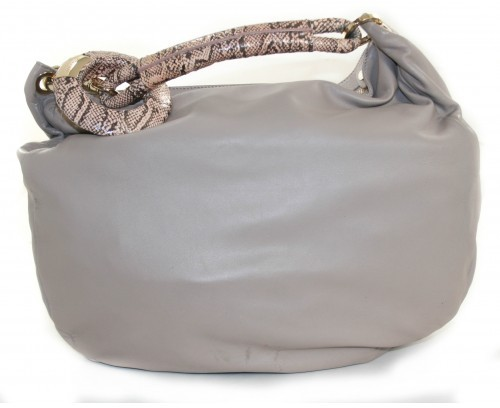 Jimmy Choo excellent (EX Taupe Leather with Python Sky Bag