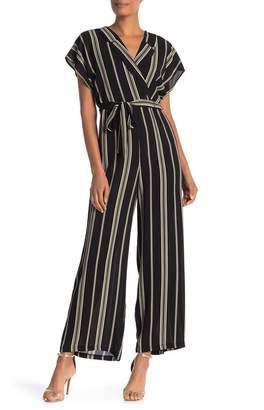 Luxology Striped Notch Collar Jumpsuit