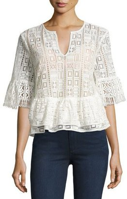 BCBGMAXAZRIA Immane Peplum Lace Top, White $198 thestylecure.com