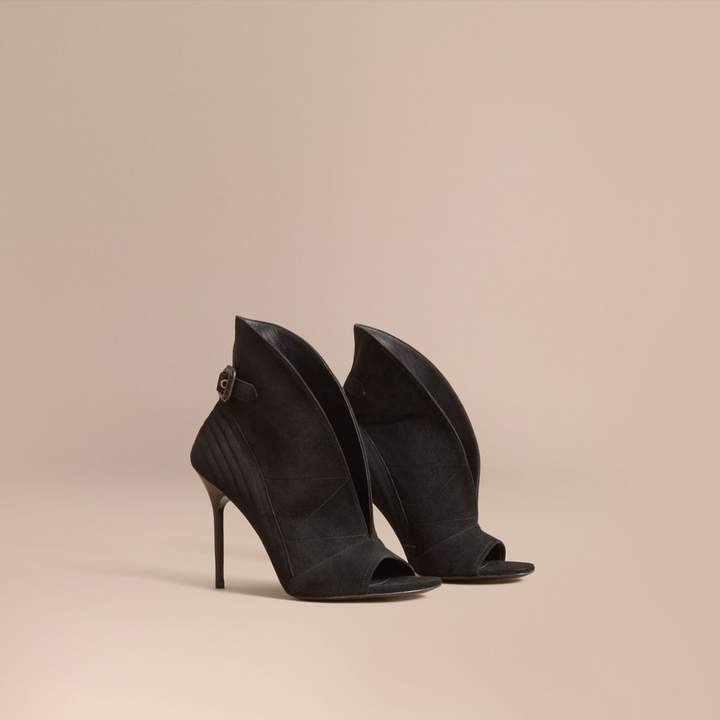 Burberry Buckle Detail Suede Peep-toe Ankle Boots
