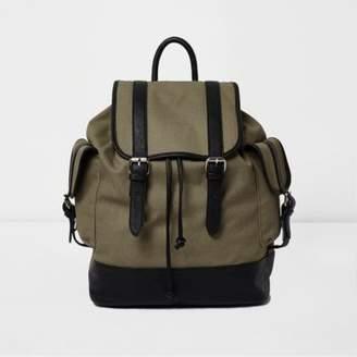 River Island Khaki green canvas flap top backpack