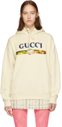 Gucci Off-White Sequin Logo Hoodie
