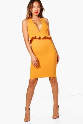 boohoo Anna Frill Front Plunge Bodycon Midi Dress
