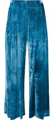 Raquel Allegra Pleated Crushed-Velvet Culottes