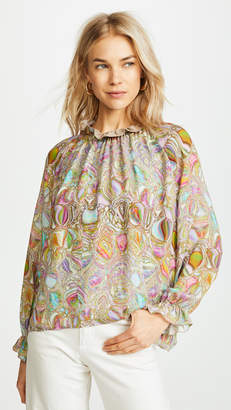 Cynthia Rowley Farra Smocked Ruffle Neck Top