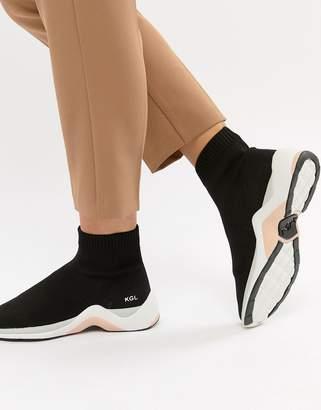 Kurt Geiger London Black Sock Sneakers With Neon Trim