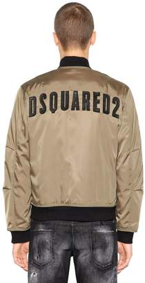 DSQUARED2 Nylon Down Bomber Jacket W/ Back Logo