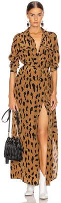 L'Agence Cameron Long Shirt Dress in Camel & Black Animal | FWRD