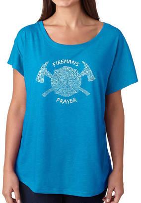 LOS ANGELES POP ART Los Angeles Pop Art Women's Loose Fit Dolman Cut Word Art Shirt - FIREMAN'S PRAYER
