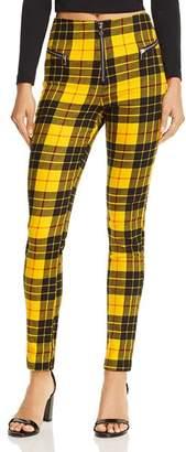 Bloomingdale's Tiger Mist Pearl Plaid Skinny Pants
