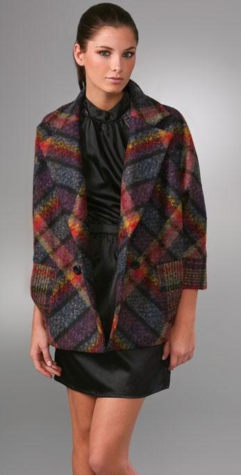Diane Von Furstenberg Short Didi Plaid Jacket