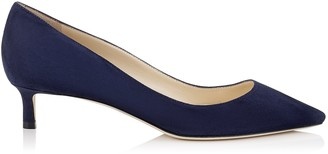 Jimmy Choo ROMY 40 Navy Suede Pointy Toe Pumps
