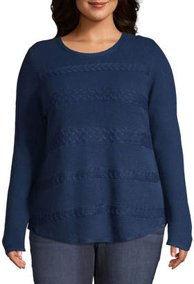 ST. JOHN'S BAY Long Sleeve Cable Sweater - Plus