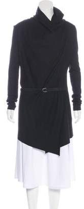 Helmut Lang Wool Leather-Accented Cardigan