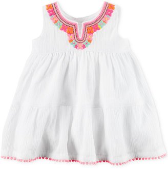 Carter's Embroidered Tiered Gauzy Cotton Dress, Baby Girls (0-24 months) $34 thestylecure.com
