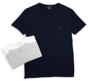 Emporio Armani Genuine Cotton V-Neck T-Shirts, 3-Pack $49 thestylecure.com