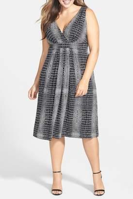 Tart Print Surplice Bodice Dress (Plus Size)