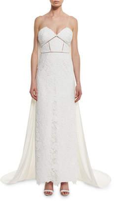 Self-Portrait Angelica Guipure Lace Cape-Back Bridal Gown, White