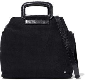 Halston Glossed Leather-Trimmed Suede Shoulder Bag