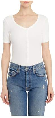 Getting Back To Square One Short Sleeve Henley Bodysuit In White
