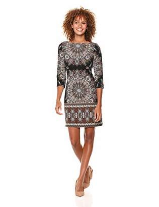 London Times Women's 3/4 Sleeve Scuba Crepe Shift Dress