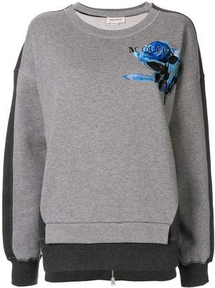 Alexander McQueen rose embroidered panelled sweatshirt