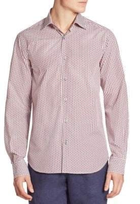 Saks Fifth Avenue COLLECTION Fish-Print Regular-Fit Shirt
