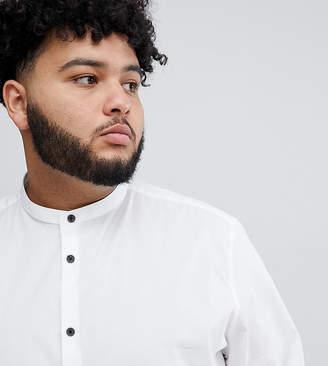 Asos DESIGN Plus slim shirt with grandad collar & contrast buttons