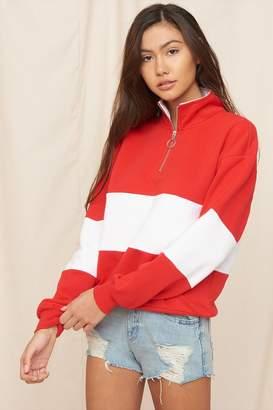 Garage Mock Neck Zip Pullover Sweatshirt