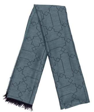 Johnstons of Elgin Abstract Print Fringed Scarf blue Abstract Print Fringed Scarf