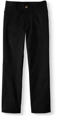 Wonder Nation Husky Boys School Uniform Super Soft Stretch Twill Flat Front Pants (Husky)