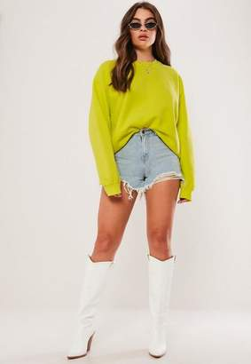 Missguided Lime Washed Sweatshirt