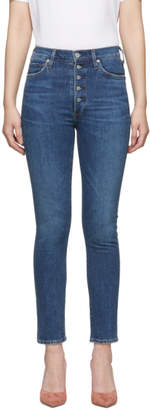 Citizens of Humanity Blue Olivia Exposed Fly High-Rise Slim Ankle Jeans