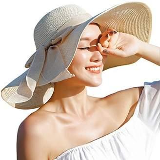 Lanzom Womens Big Bowknot Straw Hat Floppy Foldable Roll up Beach Cap Sun  Hat UPF 50 5b84c12cb4d3