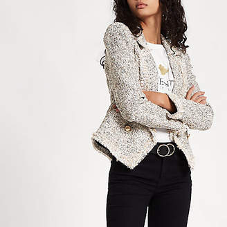 River Island Cream check print boucle jacket