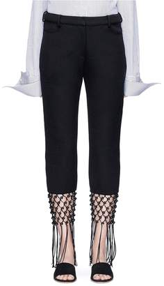 Rosie Assoulin Beaded lattice fringe cropped twill pants