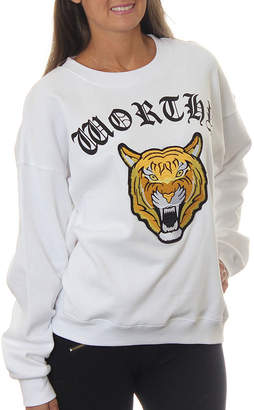 Asstd National Brand Freeze Juniors' Tiger Roaring Worthy Vintage Graphic Sweatshirt with Embroidered Patch