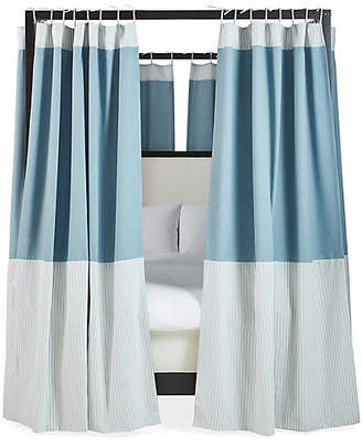 One Kings Lane Set of 8 Sophie Canopy Bed Panels - Chambray/White