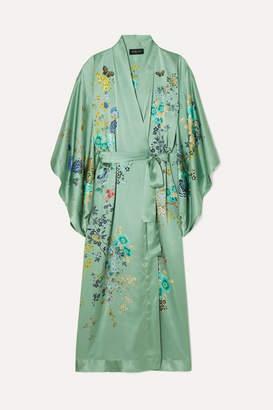 MENG - Floral-print Silk-satin Robe - Teal