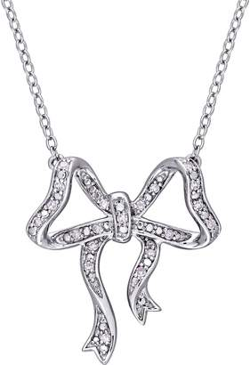 Laura Ashley Jewelry Sterling 1/10 cttw Bow Necklace