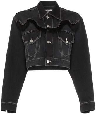 Ganni Rienzi cropped fringe detail denim jacket