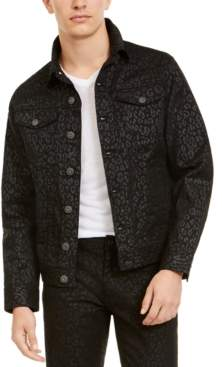 INC International Concepts I.n.c. Men's Animal Print Trucker Jacket, Created For Macy's