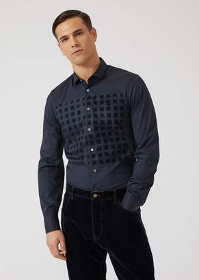 Emporio Armani Comfort Poplin Shirt With Geometric Pattern