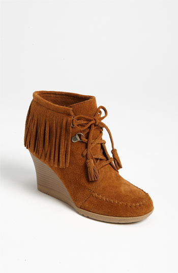 Minnetonka Lace-Up Fringe Ankle Boot