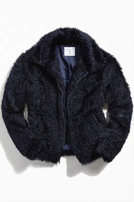 Urban Outfitters Textured Faux Fur Bomber Jacket