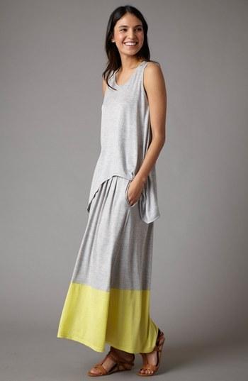 Eileen Fisher Pleated Colorblock Midi Skirt (Regular & Petite)