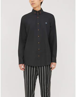 Vivienne Westwood Button-down collar embroidered-branding cotton shirt