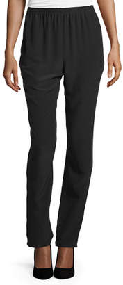 eskandar Slim-Leg Silk Trousers, Black