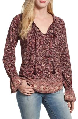 Lucky Brand Floral Border Blouse